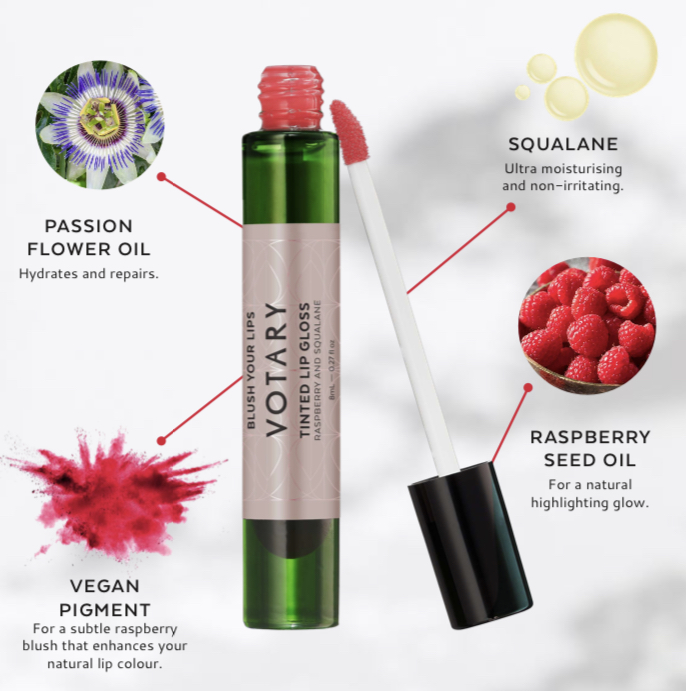 VOTARY Tinted Lip Gloss with raspberry and squalane